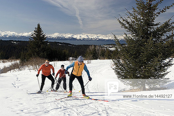 Group of nordic skiers at Baycrest ski trails Homer Alaska Kenai Peninsula