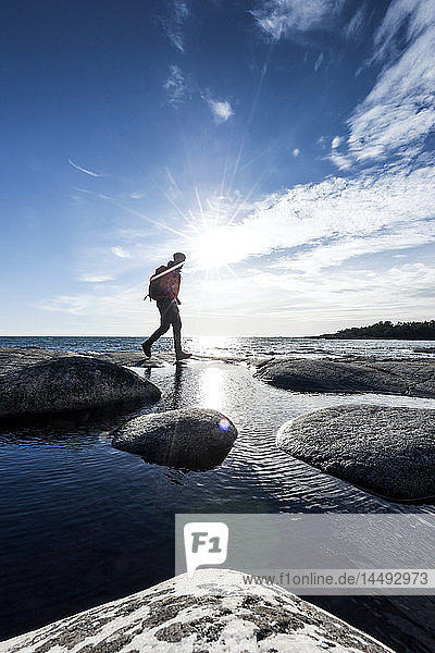 Man hiking  Uto  Sweden