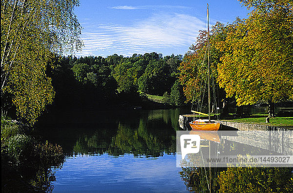 Small boat on river