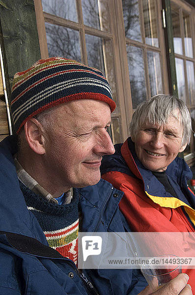Portrait of an elderly couple a winter day  Sweden.