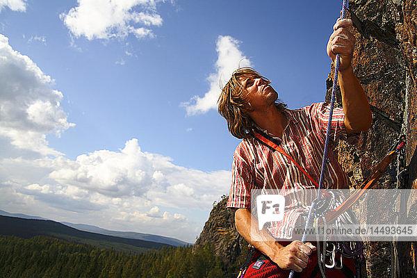 Rock climbing  Norrbotten  Sweden.