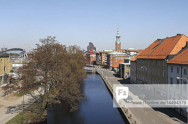 Channel and houses in Gothenburg  Sweden.