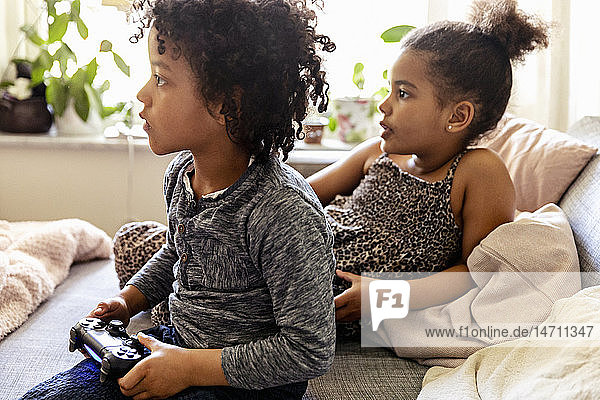 Children playing video game