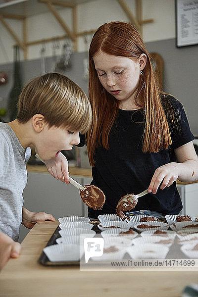 Children making muffins