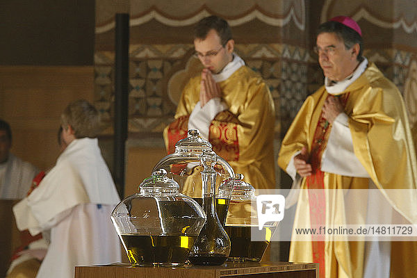 Chrism mass in Sainte Genevieve´s cathedral  Nanterre. Holy oil.