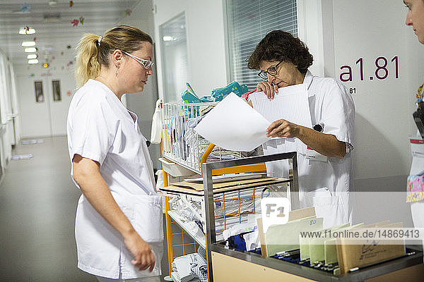 Reportage in the pediatric unit in a hospital in Haute-Savoie  France. A doctor and nurses during the morning round.