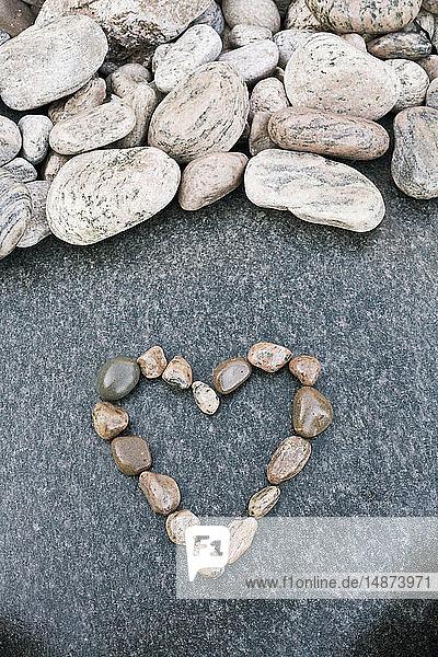 Heart shape made of rocks