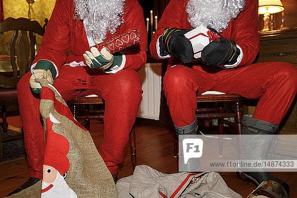 People in Santas costumes