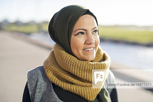 Portrait of woman wearing shawl