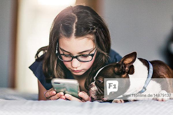 Mädchen benutzt Smartphone neben Haushund im Bett