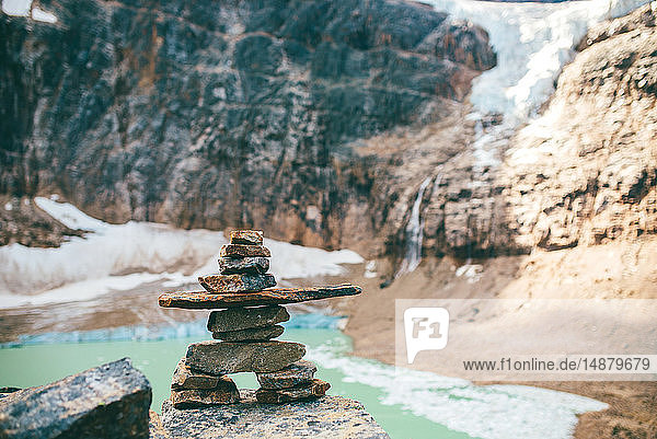 Stone cairns by lake  Jasper  Canada