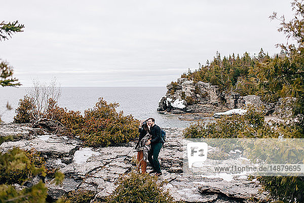 Couple by seaside  Tobermory  Canada