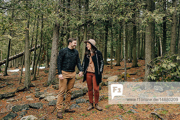 Couple hiking in forest  Tobermory  Canada