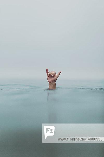 Hand eines männlichen Tauchers  die Dekompression aus dem Meer signalisiert  Ventura  Kalifornien  USA