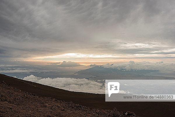 Sunset seen from mountain top  Haleakala  Maui  Hawaii