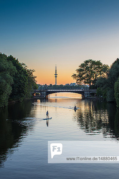 Water sports on Alster Lake  Hafen City  Hamburg  Germany