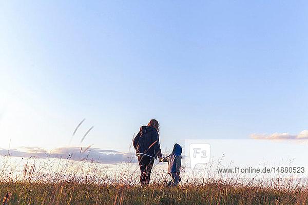 Junge und Mutter gehen Hand in Hand auf einer ländlichen Bergkuppe