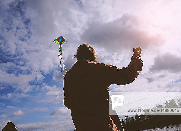 Kite flying on cloudy and windy day