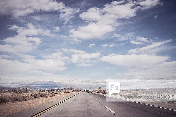 Autobahnlandschaft  Joshua Tree  Kalifornien  USA