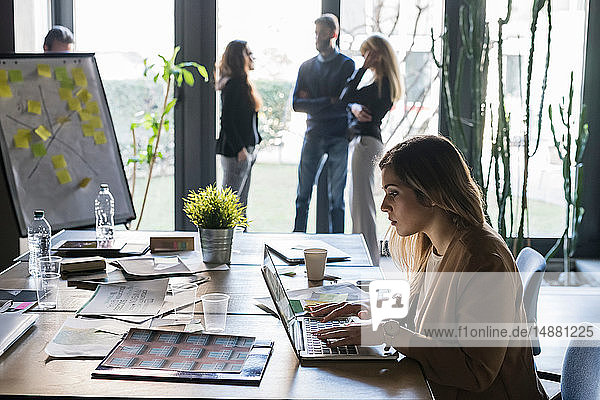 Businesswoman using laptop in office  colleagues in background