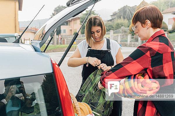 Freunde bekommen Picknick aus dem Auto  Rezzago  Lombardei  Italien