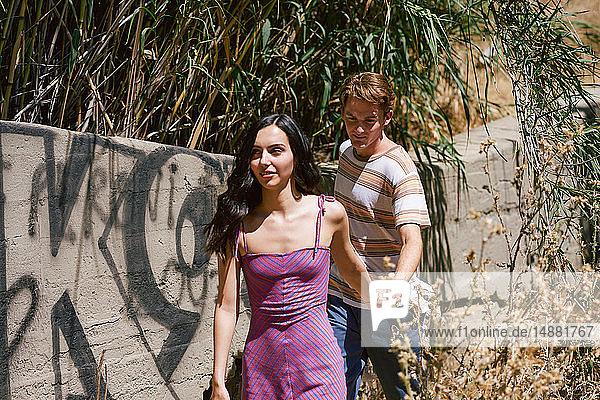 Junges Paar beim Spazierengehen und Händchenhalten im Park  Los Angeles  Kalifornien  USA