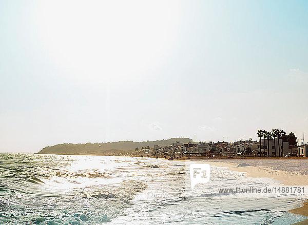 Beach on sunny day  Altafulla  Catalonia  Spain