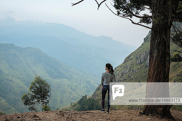 Frau geniesst Aussicht auf Berggipfel  Ella  Uva  Sri Lanka