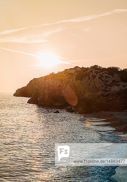 Sunset over seaside  Sitges  Catalonia  Spain