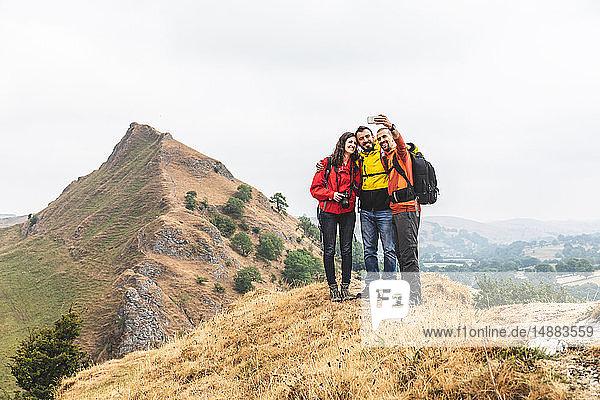 Hikers taking selfie  Chrome Hill  Peak District  Derbyshire