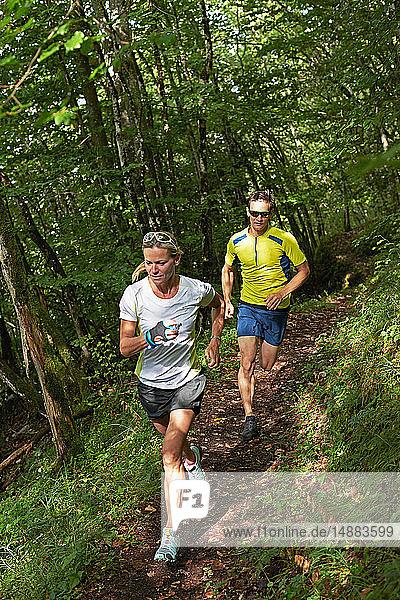Jogger laufen im Wald