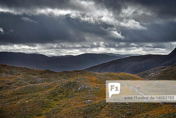 Männlicher Mountainbiker auf Feldweg in Berglandschaft  Rückansicht  Achnasheen  Schottische Highlands  Schottland