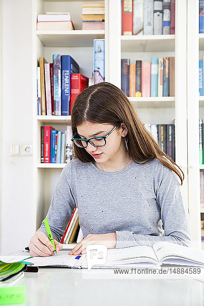 Girl doing homeworks