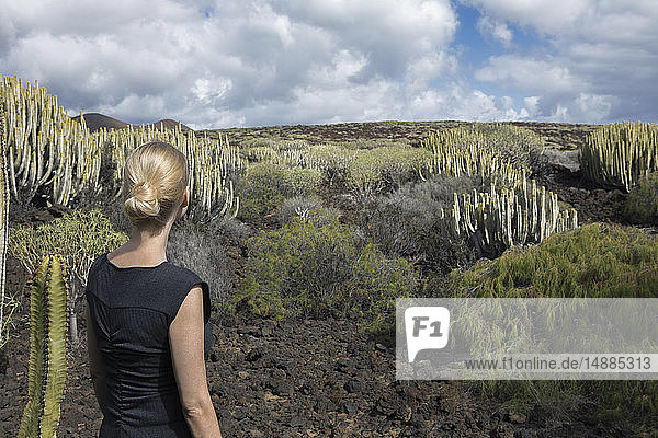 Spain  Tenerife  Malpais de Guimar  woman in volcanic landscape with cacti