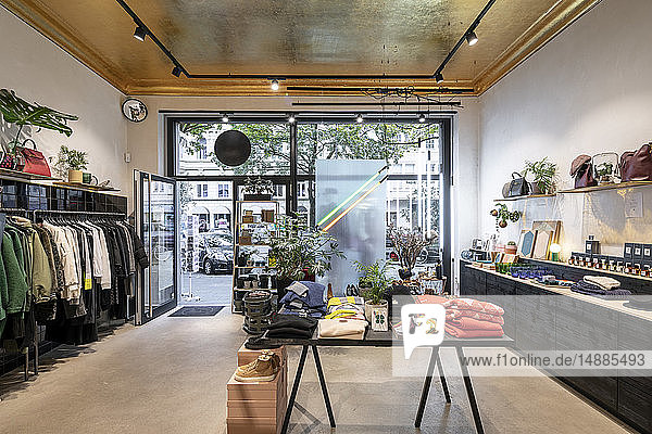 Interior of a modern concept store  displaying fashion