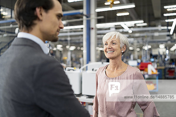 Smiling senior businesswoman and businessman talking in a factory