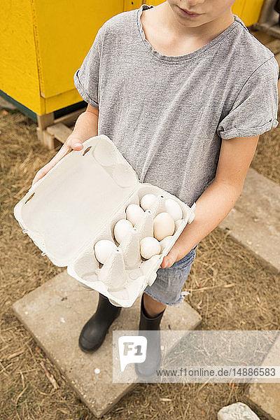Junge hält Eier im Hühnerstall im Garten