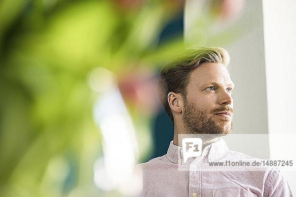 Portrait of bearded man looking away