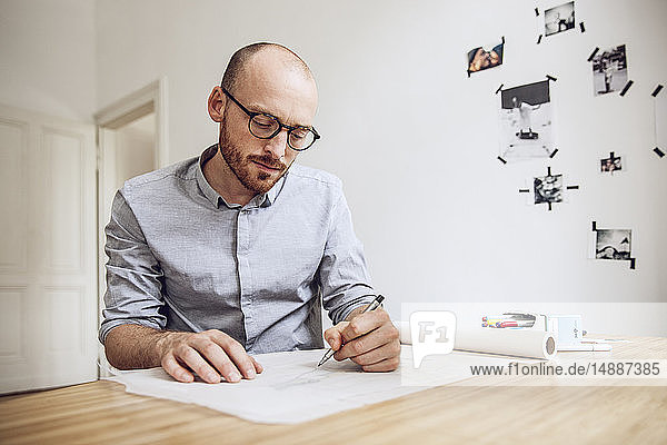 Architect working from his home office