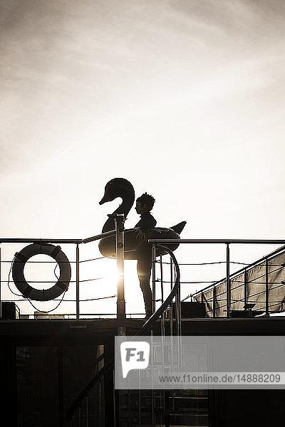 Geschäftsfrau mit schwimmendem Schwan steht auf einem Hausboot und schaut in die Ferne