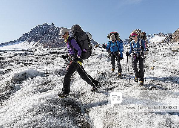 Grönland  Sermersooq  Kulusuk  Schweizer Alpen  drei Personen wandern in verschneiter Berglandschaft