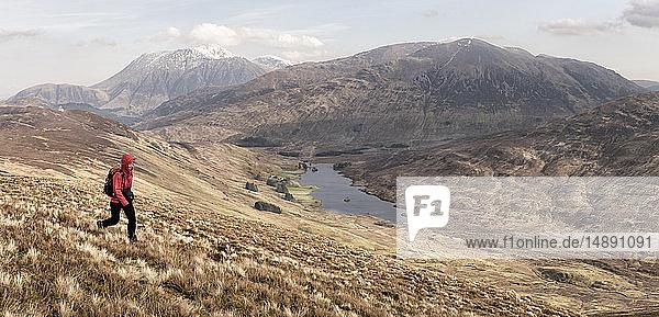 UK  Scotland  Onich  Beinn Na Gucaig  woman hiking in mountain scenery