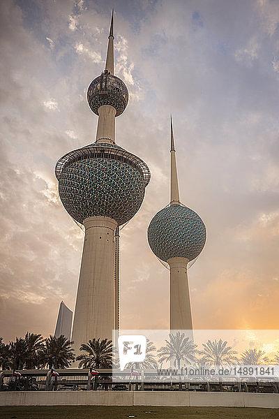 Kuwait Towers at sunset in Kuwait City  Kuwait