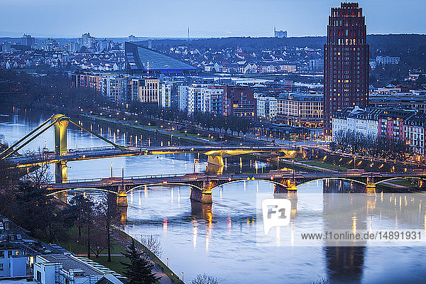 River Maine at sunset through Frankfurt  Germany