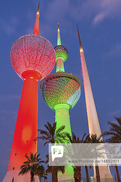 Lit Kuwait Towers in Kuwait City  Kuwait
