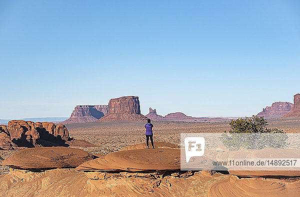Mature woman in Monument Valley  Arizona  USA