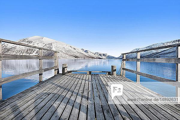 Pier on lake in Tromso  Norway
