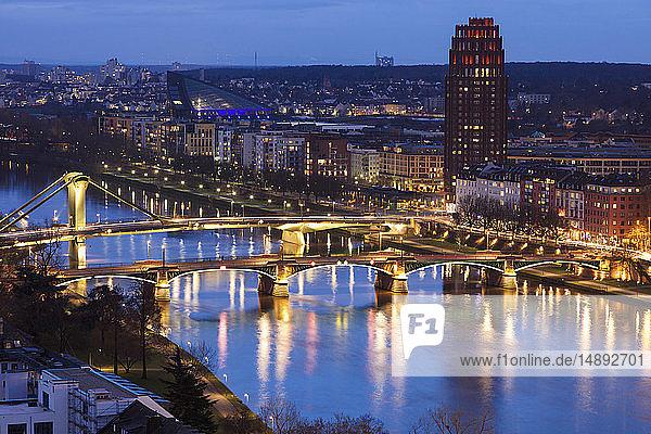 River Maine at sunset through Frankfurt  Germany