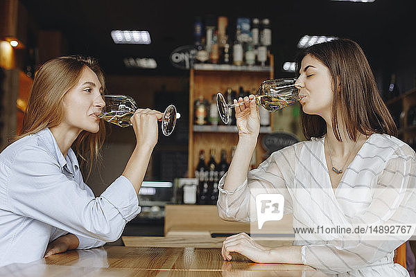 Young women drinking white wine