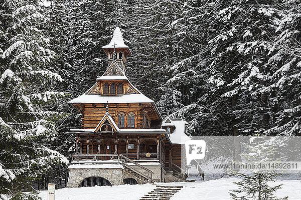 Chapel of the Sacred Heart of Jesus in snow in Jaszczurowka  Poland